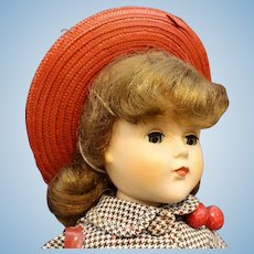 "Very Mint 'Nanette"" Hard Plastic Doll with Red Hat & Purse"