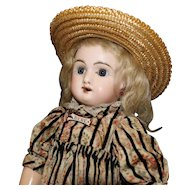 Antique French BeBe' Bisque Doll with Straw Hat by Jumeau