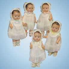 "'Dionne Quintuplets' Composition Dolls by Madame Alexander - ""Rare Slippers"""
