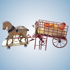 Wonderful Accessory for Your Dolls - - Vintage Country Wagon & Horses