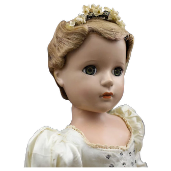 Madame Alexander Hard Plastic Bride Doll with Tagged Jeweled Dress