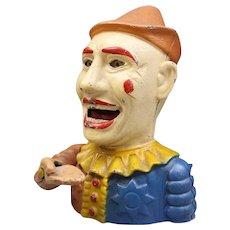 "Vintage ""Humpty Dumpty"" Book of knowledge - Cast Iron Clown Jester Bank"