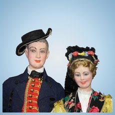 Beautiful Costumed Pair of German Dolls in Regional Outfits