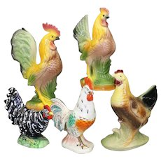Wonderful Group of Five Ceramic Chickens