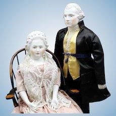 Terrific Pair - 'George & Martha Washington' Dolls by Emma Clear