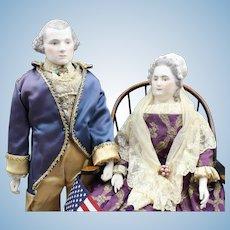 """Wonderful Pair of Emma Clear Dolls - """"George & Martha Washington"""" with American Flag"""