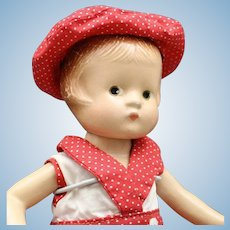 "Antique ""Patsyette"" Composition Doll by Effanbee in Red Play Suit - Circa: 1931"