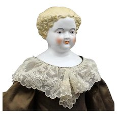 Large Wonderful Antique China Doll with Brown Dress and Lace Accents