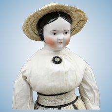 """Gorgeous Antique German China Doll - """"Covered Wagon"""""""