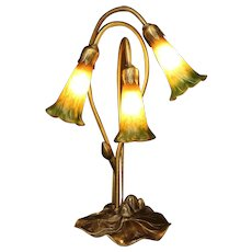 Tiffany  Style  Table  Lamp - Lily Pad Metal  Base