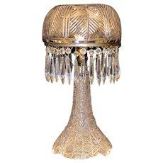Splendid  Antique Cut  Glass  Electric  Lamp