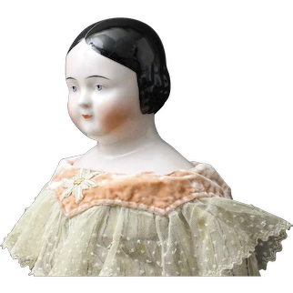 "Stunning Antique German China Doll - with 'Pink Tint' - ""Covered Wagon"" Style"
