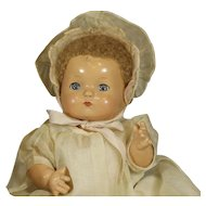 "VINTAGE EFFANBEE ""PATSY BABY"" DOLL  With WICKER ROCKING CRADDLE"