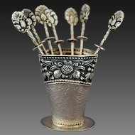 Yogya Silver 800 Dutch East Indies 8 Cocktail Picks and Vase Hallmarked