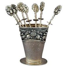 Yogya Silver 800 Dutch East Indies 8 Cocktail Picks and Vase Hallmarked
