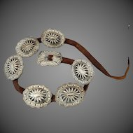 Sterling Silver Southwest Style Native American Indian Art Navajo Concho Belt C. 1920