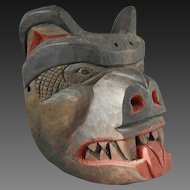 Northwest Coast Native American Indian Cedar Bear Mask by Simon Charlie Salish Cowichan