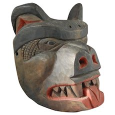 Northwest Coast Native American Indian Cedar Bear Mask by Simon Charlie Salish Cowichan