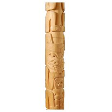 Northwest Coast Native Art Haida Carving Cedar Totem Pole Leon Ridley