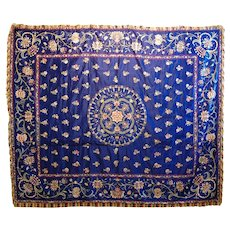 Antique Chinese  Silk Embroidered Bedspread Bedcover Royal Blue C. 1900