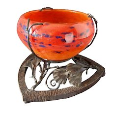 Schneider Art Glass BOWL France Circa 1920 Wrought Iron Stand Gingko Leaves SIGNED
