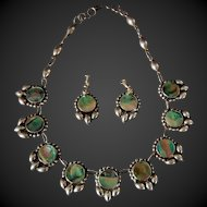 Vintage Mexican Necklace and Earrings Abalone and 925 Sterling Silver Icuala Maker FSI