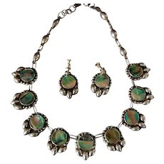 Vintage Mexican Necklace and Earrings Abalone and Sterling Silver Icuala Maker FSI