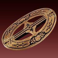 California San Francisco  14kt Gold Enamel Ladies Belt Buckle Signed W. Bohms  Jan 27th 1863