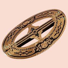 California   14kt Gold Enamel Ladies Belt Buckle  W. Bohms  Jan 27th 1863