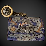 Embroidered Silk Embroidery Japanese Dragon Tobacco Pouch w/ Button Kagamibuta