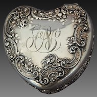 American Gorham Sterling Heart Trinket Box Embossed Garland Cartouche Roses Monogram