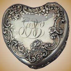 American Gorham Sterling Heart Trinket Box Embossed Garland Cartouche Roses Monogram