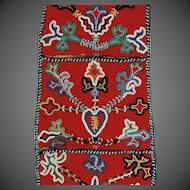 Tlingit  Native American Beaded  Wall Pouch 19th C. Red Trade Cloth