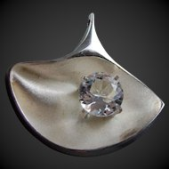 Mid Century Modernist Finland Designer Matti Hyvarinen 925 Sterling Silver Pendant STONE Crystal