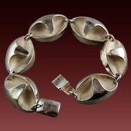 Abstract Modernist Finland Scandinavian 925 Sterling Silver Link Bracelet Designer Matti Hyvarinen