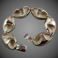 Abstract Modernist Finland Scandinavian 925 Sterling Silver Link Bracelet Designer Matti Hyvarinen
