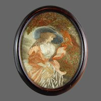 Georgian  Silk Painting Embroidery Sampler Needlework Lady w/ Hat 19th C.