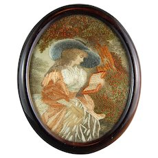 Georgian Victorian Silk Painting Embroidery Sampler Needlework Lady w/ Hat 19th Century English