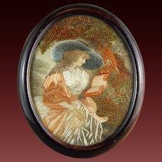 Georgian Victorian Silk Painting Embroidery Sampler Needlework Lady w/ Hat 19th Century English