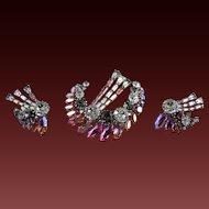 VINTAGE Austrian Rhinestone Halley's Comet Brooch Clip Earrings Set C. 1950 Signed