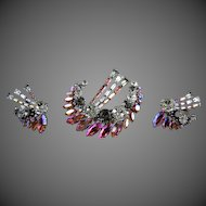 VINTAGE Austrian Rhinestone Halley's Comet Brooch Clip Earrings Set C. 1950 Signed