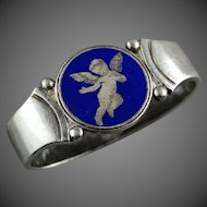 Georg Jensen Silver Blue Enamel Winged Cherub NAPKIN RING Harald Nielsen Signed Sterling