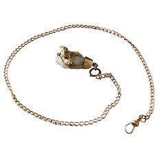 Antique Gold Rush Watch Fob 10 Kt Gold Chain Nugget Gold Quartz Crystal Stone
