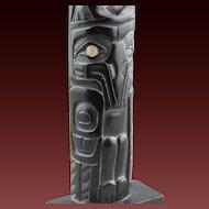 Northwest Coast Model Totem Pole Haida Argillite Kevin Neal Ryland  RAVEN Signed Titled Dated
