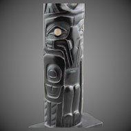 Northwest Coast Totem Pole Haida Argillite Kevin Neal Ryland  RAVEN Signed