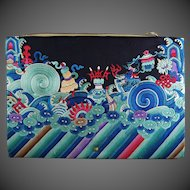Chinese Silk Embroidered Dragon Robe Clutch Purse Handbag Buddhist Symbols
