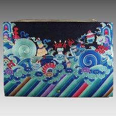 Chinese Silk Embroidered Dragon Robe Clutch Purse Handbag Buddhist Symbols