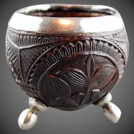Antique Silver Carved Coconut Cup Georgian English European Standing Cup C. 1800