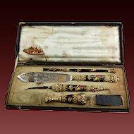 French Writing Desk Set 925 Silver Gilt Enamel Quill Pen, Opener, Seal, Knife, Original Box