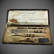 French Writing Desk Set 925 Silver Gilt Enamel Quill Pen 19th Century